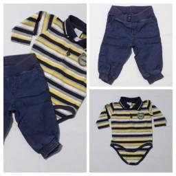 Body com calça jeans bebe tam 3 a 8 meses (Seminovo)