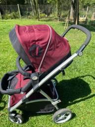 Carrinho de Bebê Travel System Maly Vinho  + Bebê Conforto + Base - Dzieco