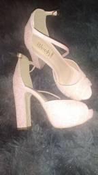 Sandália rosa salto 37 nova e linda
