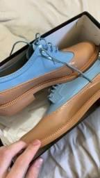 sapato melissa brogue azul/caramelo