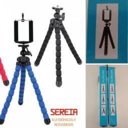 Tripé pequeno ajustável, flexível, móvel para câmeras e celulares