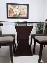 Título do anúncio: Mesa com 6 cadeiras com centro tabaco de vidro 1,3 X 1,3 - oportunidade