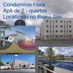 Condomínio Flora Apê de 2 quartos, pronto para morar no Bairro SIM - aceita Contrato de Ga