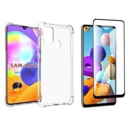 Capa anti impacto Samsung Galaxy A21s + película de vidro 3D