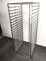 Esqueleto armário de pães inox para 20 telas - Pronta entrega