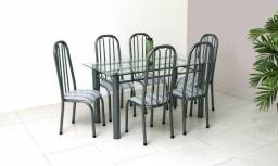Mesa em vidro 8mm Roma aço com 06 cadeiras = Pronta entrega!