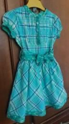 Vestido xadrez azul e verde algodão