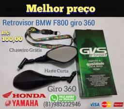Retrovisor GVS bmw f800 com giro 360 Honda Yamaha Suzuki