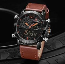 Relógio Original Naviforce Entrega Grátis Quartzo Funcional À Prova D'água Couro Esportivo