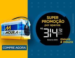Moura 60 ah apenas R$ 315,00, fone; 3397-2074