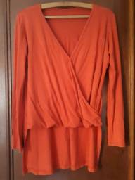 Blusa confortável, manga longa c/decote