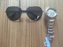 Relógio naviforce + óculos aviador - Novo