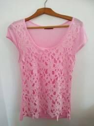 Título do anúncio: Blusa rosa com renda