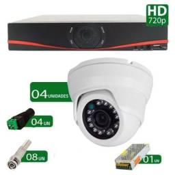 Kit CFTV 04 Câmeras dome infra hd 720p + Dvr 4 canais AHD