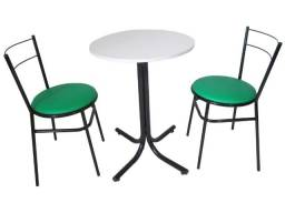 Conjunto de mesa redonda c/ 2 cadeiras ideal para restaurantes, sorveterias, buffets