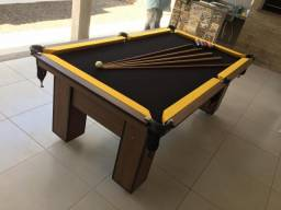 Mesa de Bilhar com Redes Cor Imbuia Bordas Amarelas Tecido Preto Modelo FRW1478