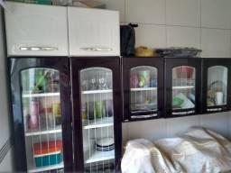 Cozinha Modulada Com Balcão 4 Peças em Aço Múltipla Branco/Marrom - Bertolini