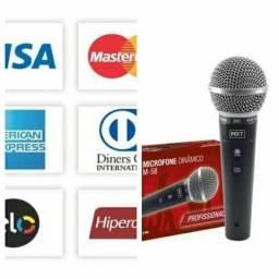 Microfone profissional em metal com fio m58 zap8802-6248 entrega grátis