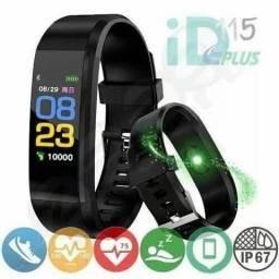 Pulseira inteligente monitor cardíaco,calorias,km,not zap,sms,face etc.