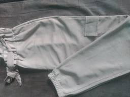 Calça clochard em crepe de seda P/M