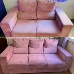 Sofá lilás 2 e 3 lugares