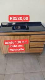 BALCÃO DE PIA 1,20 M + CUBA EM MARMORITE NOVOS