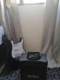 Guitarra Stratocaster vogga e amplificador sheldon gt1200
