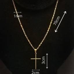 Kit Corrente + Pingente + Pulseira ,Banhada 10 milésimo de ouro 18k,NOVA/ACEITO TROCAS