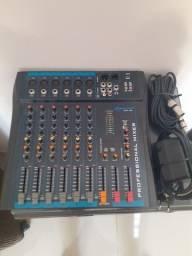 Mesa de som oneal omx 6p + microfone sem fio