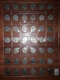 Cartela com 60 moedas Five cents anos : 1938 á 2016