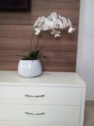 Orquídeas 2 hastes artificial com vaso branca