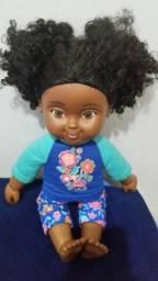 Boneca Afro Americana 38cm corpo de pano