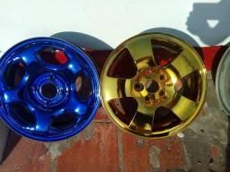 Barbada torrando 2 jogos de rodas cromadas colorido aro 15 lindas e muito baratas