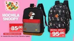 Mochilas infantil, mochila do snoopy e mochila de couro