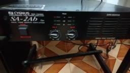 Mesa de Som + Potencia + 2 caixas de Voz