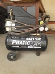 Compressor de ar Schulz com mangueira e pistola (Aceito cartão)