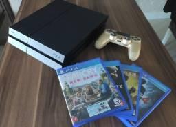 Playstation 4 500 GB Com Controle Semi-Novo + 4 jogos