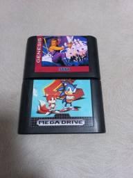Cartuchos originais Tec Toy para Mega Drive - Sonic 2 e Strider
