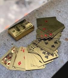 Jogo de Baralho dourado Ouro Back side 100 dólares