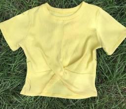 Cropped Amarelo malha canelada