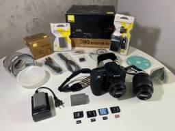 Câmera semiprofissional Nikon D90 - Seminova - Kit Completo