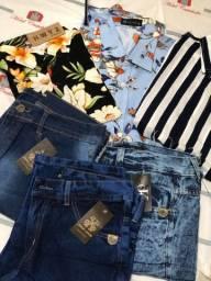 Camisas sociais, bermudas jeans