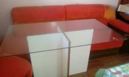 Mesa c/tampo de vidro temp