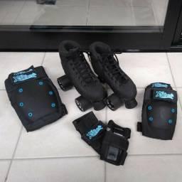 Patins Traxart X-Trike Quad Tradicional - Preto n° 34 + Equipamento de proteção da X seven