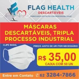 Mascara descartavel 3 camadas soldadas com elástico e clip nasal