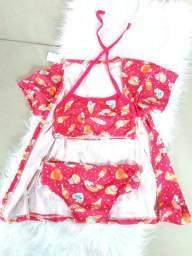 Biquini Cropped com Kimono Tamanho 6