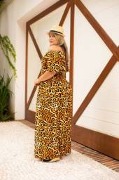 Vestido Longo Plus Size Animal Print