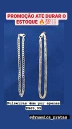 Promoção de pulseiras de prata 925