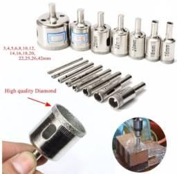 Kit 15 Brocas Diamantadas Serra Copo P/ Vidro, Cerâmica, Etc