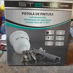 Pistola Pintura Gravidade 600 ml + 3 Bico 1.2 1.5 1.8 Stels ( Pouco uso tudo novo)